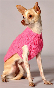 Pink Cable Knit Dog Sweaters