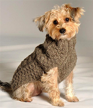Grey Cable Knit Dog Sweaters