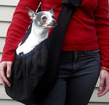 Just Hangin\' Messenger Style Dog Carrier - Black Tweed