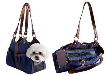 Metro 2 Navy / Tan Trim Pet Dog Carrier by Petote
