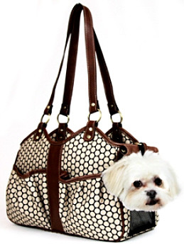 Metro Couture Toffee Leather Pet Dog Carrier by Petote