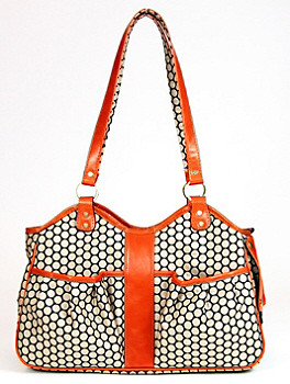 Metro Couture Tangerine Leather Pet Dog Carrier by Petote