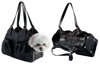 Metro Midnight Leather Pet Dog Carrier by Petote