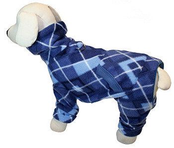 Blue Argyle Turtleneck Fleece Dog Pajamas /Jumpsuit