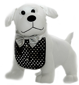 Black Velvet Dog Tuxedo Bib & Silver Bowtie - Small to Large Dogs
