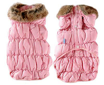 Pink Ruched Bubble Dog Jacket - Solid / Polka Dots Reversible