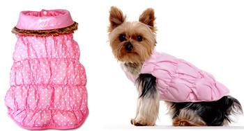 Pink Ruched Bubble Dog Jacket - Solid / Polka Dots Reversible