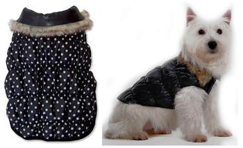 Black Ruched Bubble Dog Jacket - Solid / Polka Dots Reversible
