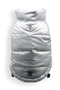 Reversible Silver Argyle Dog Puffer Vest Jacket