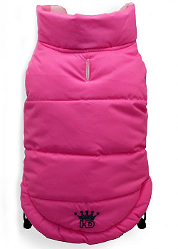 Reversible Pink Argyle Dog Puffer Vest Jacket
