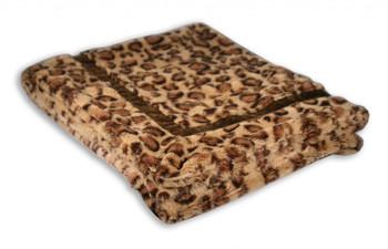 Brown Cheetah Puppy Dog Blanket