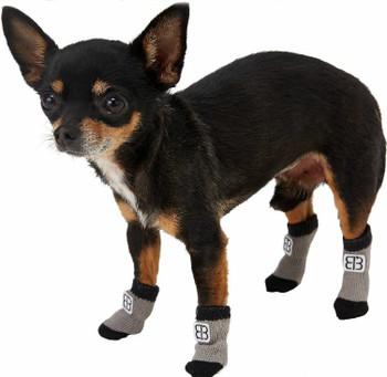 Pet Ego Comfort Traction Control Dog Socks - Black / Grey