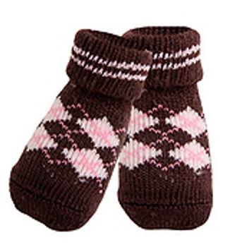 Brown Argyle Dog Socks