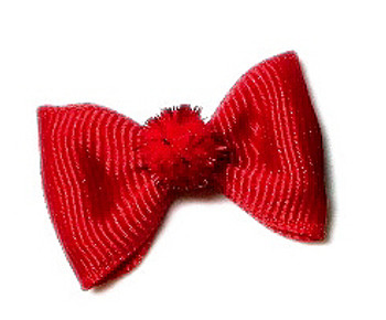 Holiday Fuzzies Dog Hair Bow Barrette - Red