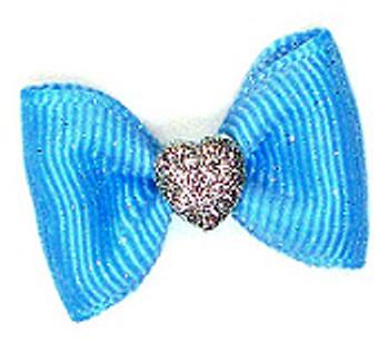 Valentine Sugars Dog Hair Bow Barrette - Blue
