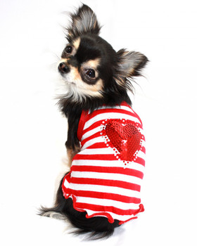 Red Heart Sequin Striped Dog Tank by Hip Doggie - Size Small
