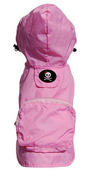 Pink Girlie Skull Pocket Fold Up Dog Raincoat