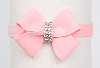 Puppy Pink Nouveau Bow Dog Collar by Susan Lanci