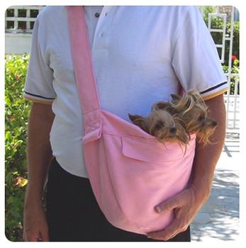 Pink Luxe Suede Cuddle Dog Carrier by Susan Lanci Designs