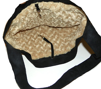 Black Luxe Suede Cuddle Dog Carrier by Susan Lanci Designs