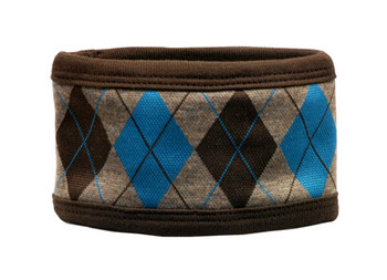 Brown and Turquoise Argyle Dog Belly Band