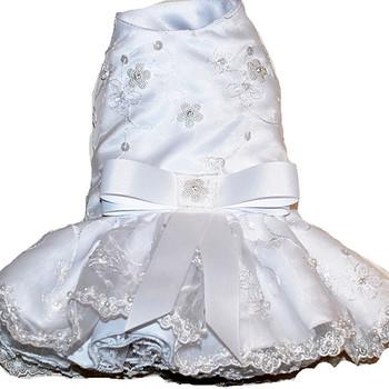 White Embroidered Organza Dog Dress