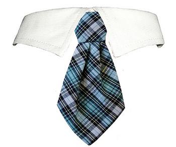 James Blue Plaid Dog Neck Tie & Dog Collar