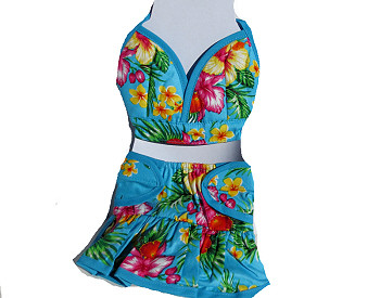 Hawaiian Dog Bikini - Blue