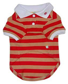 PP Striped Polo Dog Shirt - Red