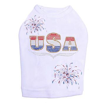 Patriotic USA & Fireworks Dog Tank - White - Size Medium