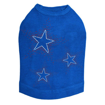 Patriotic Stars Rhinestone Dog Tank - Royal Blue - Size Medium