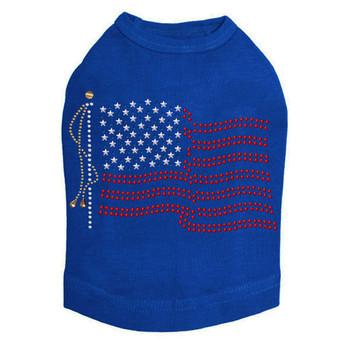 American Flag Nailheads Dog Tank - Royal Blue - Size Medium