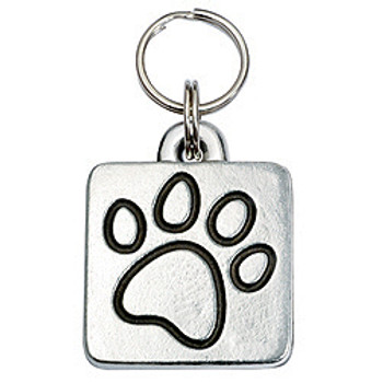 Pewter Engravable Square Pet ID Tag - Paw