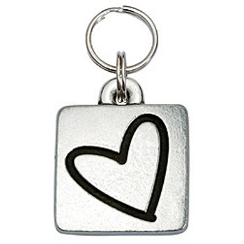 Pewter Engravable Square Pet ID Tag - Heart