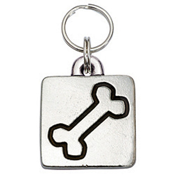 Pewter Engravable Square Pet ID Tag - Bone