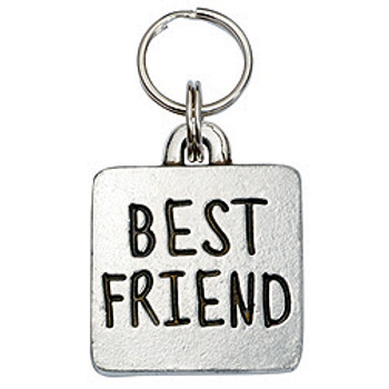 Pewter Engravable Square Pet ID Tag - Best Friend