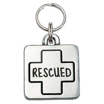 Pewter Engravable Square Pet ID Tag - Rescued