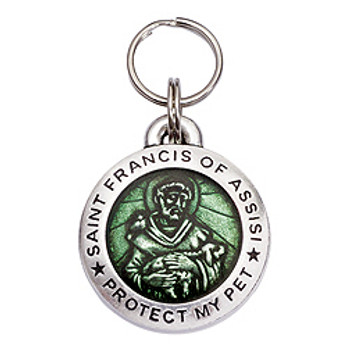 Pewter St. Francis Pet Dog ID Tag - Light Peridot