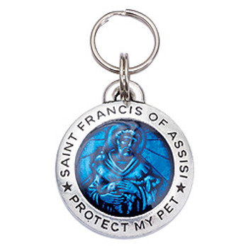 Pewter St. Francis Pet Dog ID Tag - Blue