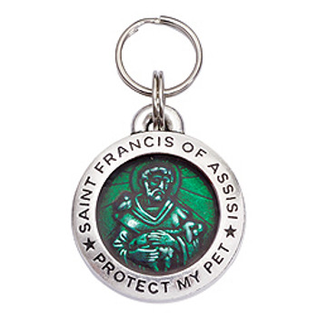 Pewter St. Francis Pet Dog ID Tag - Emerald