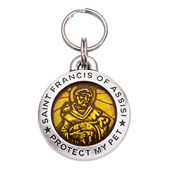 Pewter St. Francis Pet Dog ID Tag - Topaz