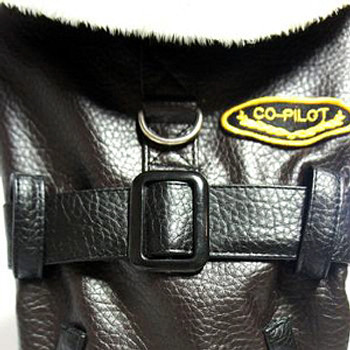 Bomber Faux Leather Fur Lined Dog Coat by Doggie Design - 2X Only