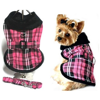 Pink & Black Plaid Dog Coat by Doggie Design