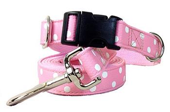 Betsy Baby Pink Polka Dots - Dog Collars & Leashes