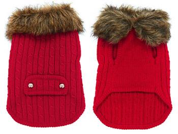 Luxy Fur Dog Sweater Coat - Red