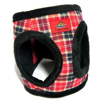 American River Red Plaid and Minky Fur Ultra Choke Free Dog Harness