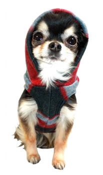 Red Plaid Polar Fleece Dog Hoodie by Hip Doggie
