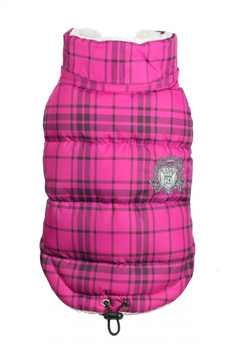 Plaid Shearling Puffer Dog Vest Coat - Pink