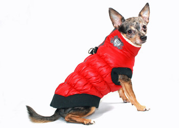 HD Crown Scrunchy Puffer Dog Vest Coat - Red by Hip Doggie