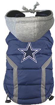 NFL Dallas Cowboys Licensed Dog Puffer Vest Coat - S - 3X